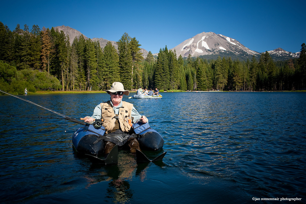 Fly Fishing at Manzanita Lake on Mt Lassen in California using an OUTCAST pontoon boat.