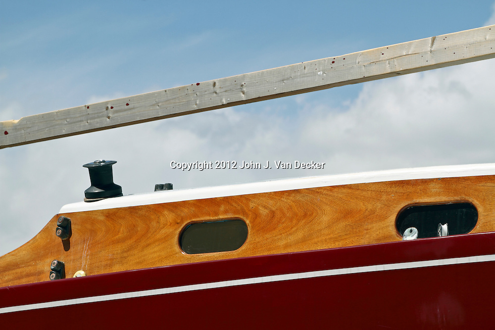 A close-up of a portion of an old sailboat on the grounds of the Museum of Yachting in Newport, Rhode Island, USA