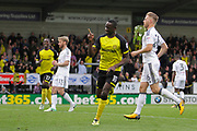 Burton Albion striker Lucas Akins (10) celebrates scoring the winner from the penalty spot (score 2-1) during the EFL Sky Bet Championship match between Burton Albion and Fulham at the Pirelli Stadium, Burton upon Trent, England on 16 September 2017. Photo by Richard Holmes.