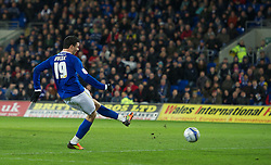 CARDIFF, WALES - Tuesday, February 14, 2012: Cardiff City's Haris Vuckic scores the third goal against Peterborough United on his club debut the Football League Championship match at the Cardiff City Stadium. (Pic by David Rawcliffe/Propaganda)