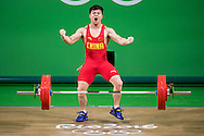 Qingquan Long of China winning the Gold medal in the Men's 56 Kg Weightlifting during XXXI 2016 Olympic Summer Games at Rio de Janeiro, Brazil.<br /> Picture by EXPA Pictures/Focus Images Ltd 07814482222<br /> 08/08/2016<br /> *** UK &amp; IRELAND ONLY ***<br /> <br /> EXPA-Eibner-Pressefoto-160808-5052.jpg