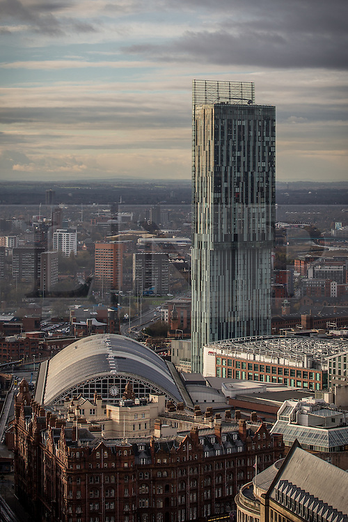 © Licensed to London News Pictures . 07/12/2013 . Beetham Tower , Gmex , Manchester Central , Midland Hotel . Cityscape view of Manchester . Photo credit : Joel Goodman/LNP