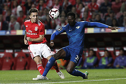 November 2, 2018 - Lisbon, Portugal - Alejandro Grimaldo of Benfica  (L) vies for the ball with Mamadou NDiaye of Moreirense (R)  during the Portuguese League football match between SL Benfica and Moreirense FC at Luz Stadium in Lisbon on November 2, 2018. (Credit Image: © Carlos Palma/NurPhoto via ZUMA Press)