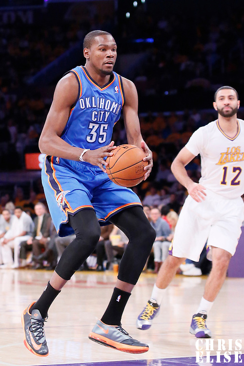 09 March 2014: Oklahoma City Thunder small forward Kevin Durant (35) passes the ball during the Los Angeles Lakers 114-110 victory over the Oklahoma City Thunder at the Staples Center, Los Angeles, California, USA.