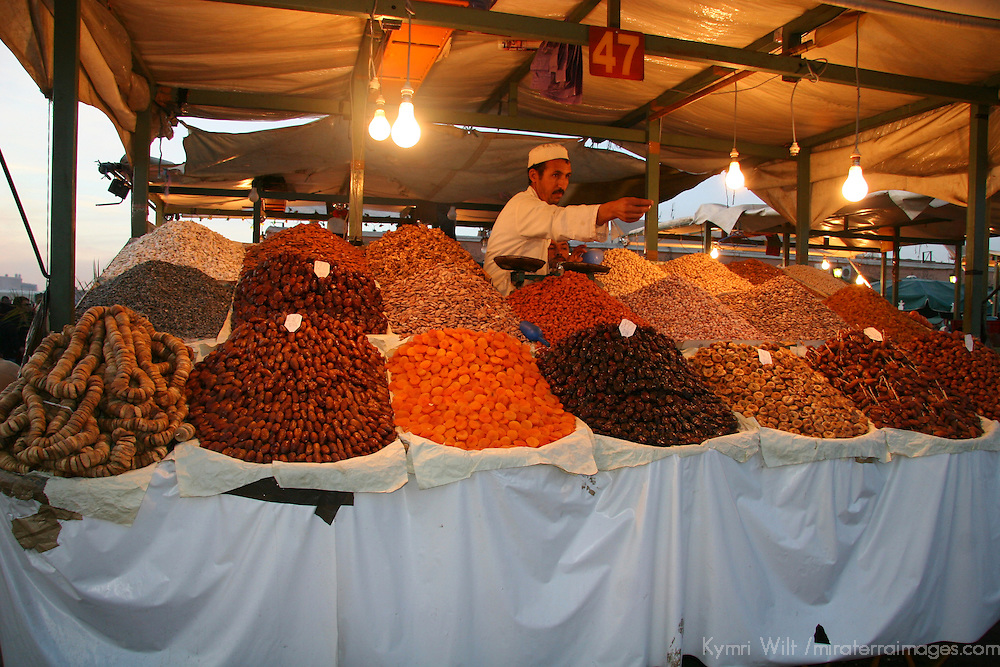 North Africa, Africa, Morocco, Marrakesh. Dried fruits, nuts and spices of the Djeema el Fna, the largest and busiest square in Africa.