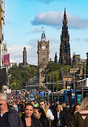 View along busy Princes Street in Edinburgh, Scotland, United Kingdom.