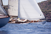 Lone Fox sailing in the Cannon Race at the Antigua Classic Yacht Regatta.