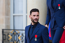 Hugo Lloris leaves after receiving the Legion of Honour during a ceremony to award French 2018 football World Cup winners, on June 4, 2019, at the Elysee Palace in Paris. Photo by Raphael Lafargue/ABACAPRESS.COM