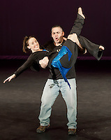 Meredith School Resource Officer Jamie Brunt gives his partner Ashley May White a lift during final rehearsal for the Dancing with the Lakes Region Stars event to premier 7pm Friday evening at Inter Lakes High School's auditorium.  (Karen Bobotas/for the Laconia Daily Sun)