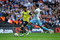 Kane Hemmings of Oxford United under pressure from Jordan Willis of Coventry City - Photo mandatory by-line: Jason Brown/JMP -  02/04//2017 - SPORT - Football - London - Wembley Stadium - Coventry City v Oxford United - Checkatrade Trophy Final