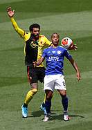 Etiene Capoue of Watford challenges Youri Tielemans of Leicester City during the Premier League match at Vicarage Road, Watford. Picture date: 20th June 2020. Picture credit should read: Darren Staples/Sportimage
