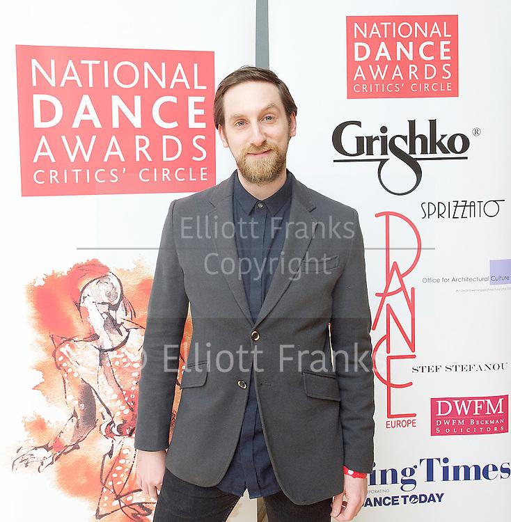 The Critics' Circle National Dance Awards 2016 <br /> at the Lilian Baylis Studio, Sadler's Wells, London, Great Britain <br /> <br /> 6th February 2017 <br /> <br /> Jonathan Watkins <br /> <br /> Photograph by Elliott Franks <br /> Image licensed to Elliott Franks Photography Services