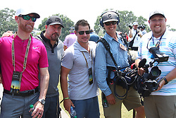 May 11, 2017 - Ponte Vedra Beach, Florida, United States - (L-R) ESPN bureau reporter Marty Smith, singer Joey Fatone, singer Nick Lachey and guests pose for photos during the first round of The PLAYERS Championship at TPC Sawgrass. (Credit Image: © Debby Wong via ZUMA Wire)
