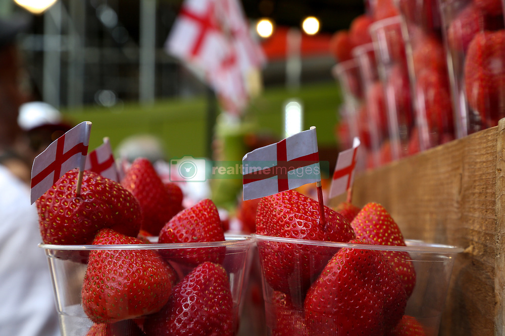 July 4, 2018 - London, London, United Kingdom - England Flags on Strawberries. ..England flags on strawberries in a fruit drink stall on Oxford Street. England now prepares for their next match against Sweden on Saturday 7 July 2018 in the quarter finals having beaten Colombia on penalties. (Credit Image: © Dinendra Haria/i-Images via ZUMA Press)