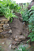 Keyhole gardens are starting to collapse as a result of the exceptionally heavy rain in Lesotho. The recent rains have been the worst they can remember.