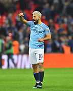 Manchester City are Carabao Cup champions - Sergio Aguero (10) of Manchester City celebrates after City won a penalty shootout after a 0-0 draw after extra time during the Carabao Cup Final match between Chelsea and Manchester City at Wembley Stadium, London, England on 24 February 2019.