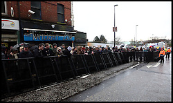 Fans wait for the arrival of Liam Neeson who will be collecting his freedom of Ballymena award, Belfast, Northern Ireland, January 28, 2013. Photo by Paul McErlane / i-Images..