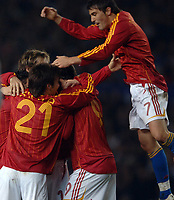 Photo: Paul Greenwood.<br />England v Spain. International Friendly. 07/02/2007. Spains Angel Javier Azimendi, right, jumps for joy as Spain score a goal