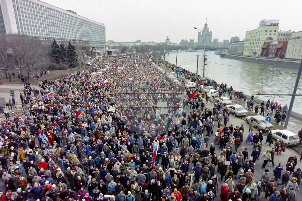 Tens of thousands of Russian citizens march in support of President Boris Yeltsin to Red Square March 28, 1993 in Moscow, Russia. The supporters marched through central Moscow ending in Red Square where Yeltsin addressed the crowd.
