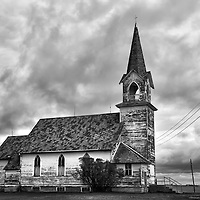 rural landscape with old church with white washed timber framingTunbridge, Pierce County