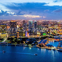 Panoramic view of downtown Miami at twilight. Featuring the Paramount Miami World Center project.