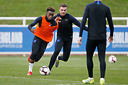 Callum Hudson-Odoi (Chelsea) and Jordan Henderson (Liverpool)  during the England training session ahead of the UEFA Euro Qualifier against the Czech Repulbic, at St George's Park National Football Centre, Burton-Upon-Trent, United Kingdom on 19 March 2019.