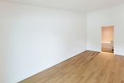 interior of new apartment, empty room with wooden floor