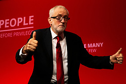 © Licensed to London News Pictures. 24/09/2019. Brighton, UK. Leader of the Labour Party JEREMY CORBYN speaks to delegates at the 2019 Labour Party Conference in Brighton and Hove. Photo credit: Hugo Michiels/LNP