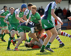 Connacht's Kevin Hastings tries to steal posession from Ulster's Jamie Johnson during junior interpro at Carrowholly on saturday last.<br /> Pic Conor McKeown