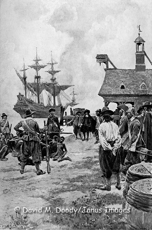 """Landing of Negroes at Jamestown Virginia from a Dutch Man-of-War, 1619"".Source: Colonies and Nation by Woodrow Wilson Harper's Jan 1901.  Slavery. The first black slaves delivered to English North America. (note: half-tone dots in this image)"