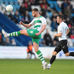 TELFORD COPYRIGHT MIKE SHERIDAN Thomas Allan clears in no-nonsense fashion under pressure from Aaron Williams of Telford  during the Vanarama Conference North fixture between AFC Telford and Farsley Celtic at the New Bucks head Stadium on Saturday, December 7, 2019.<br /> <br /> Picture credit: Mike Sheridan/Ultrapress<br /> <br /> MS201920-033