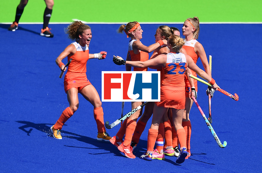 Netherlands' players celebrate a goal during the women's semifinal field hockey Netherlands vs Germany match of the Rio 2016 Olympics Games at the Olympic Hockey Centre in Rio de Janeiro on August 17, 2016. / AFP / MANAN VATSYAYANA        (Photo credit should read MANAN VATSYAYANA/AFP/Getty Images)
