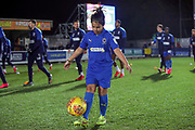Mascot warming up next to the AFC Wimbledon players prior to kick off during the EFL Sky Bet League 1 match between AFC Wimbledon and Ipswich Town at the Cherry Red Records Stadium, Kingston, England on 11 February 2020.