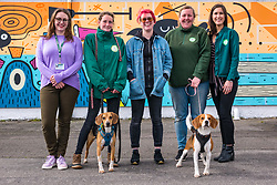 Pictured: Edinburgh Dog & Cat Home Mural Unveiling. , Edinburgh, Scotland, 03 May 2019. Beagles Barney (L) and Bella (R) with Ceilidh and Vicky from the rescue centre with (from L to R) Charlotte Johnson, Edinburgh Shoreline Project Manager, mural artist Katie Guthrie and Alanna Brady, Special Gifts Fund Raiser at the Edinburgh Dog & Cat Home. Both dogs are looking for a good home. The 80 foot mural is unveiled today as a colourful addition to Seafield promenade. It is designed and painted by local artists Studio N_Name. It depicts the people, heritage and environment of the local community and features flora, fauna and historic elements of the local coastline. It has been made possible through through partnership with Edinburgh Shoreline Project. It is on the seafront wall of the dog & cat home which rescues, reunites and rehomes lost, stray and abandoned dogs and cats across Edinburgh and the Lothians, caring for 2,367 dogs and 771 cats in 2018.<br /> Sally Anderson | EdinburghElitemedia.co.uk