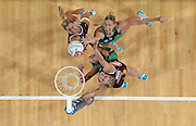 SPORT - ANZ Championship netball - West Coast Fever v Queensland Firebirds. Perth Arena, Perth. Photo by Daniel Wilkins. PICTURED -  West Coast's Caitlin Bassett reaches for a rebound.