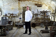 Ingimar Ingimarsson, Chef in charge of official receptions of the President of Iceland, poses for a portrait in the Cascina Colombara during the annual meeting of the Club des Chefs des Chefs in Livorno Ferraris, Vercelli, Italy, July 18, 2015.<br /> The Club des Chefs des Chefs, which is seen as the world's most exclusive gastronomic society, has extremely strict membership criteria: to be accepted into this highly elite club, you need to be the current personal chef of a head of state. If he or she does not have a personal chef, members can be the executive chef of the venue that hosts official State receptions. One of the society's primary purposes is to promote major culinary traditions and to protect the origins of each national cuisine. The Club des Chefs des Chefs also aims to develop friendship and cooperation between its members, who have similar responsibilities in their respective countries. <br /> The annual meeting of the Club has been hosted this year in the production site of the Italian rice company called Riso Acquerello. <br /> © Giorgio Perottino