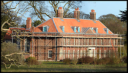 Prince William & Kate's Norfolk Home, Anmer Hall,Norfolk, United Kingdom, under goes building work as they have a new roof put on before they move in. Roofers renovating the Norfolk mansion are replacing old, weathered tiles with garish red ones not in keeping with the 1800s building. Sunday, 22nd December 2013. Picture by Andrew Parsons / i-Images
