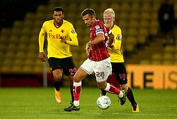 Gary O'Neil of Bristol City goes past Will Hughes of Watford - Mandatory by-line: Robbie Stephenson/JMP - 22/08/2017 - FOOTBALL - Vicarage Road - Watford, England - Watford v Bristol City - Carabao Cup