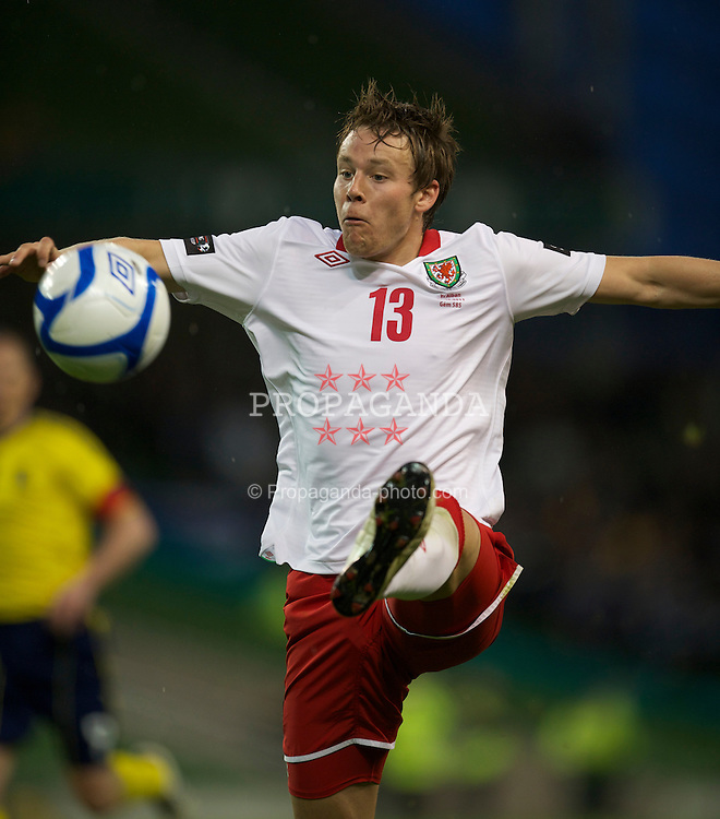DUBLIN, REPUBLIC OF IRELAND - Wednesday, May 25, 2011: Wales' Chris Gunter in action against Scotland during the Carling Nations Cup match at the Aviva Stadium (Lansdowne Road). (Photo by David Rawcliffe/Propaganda)