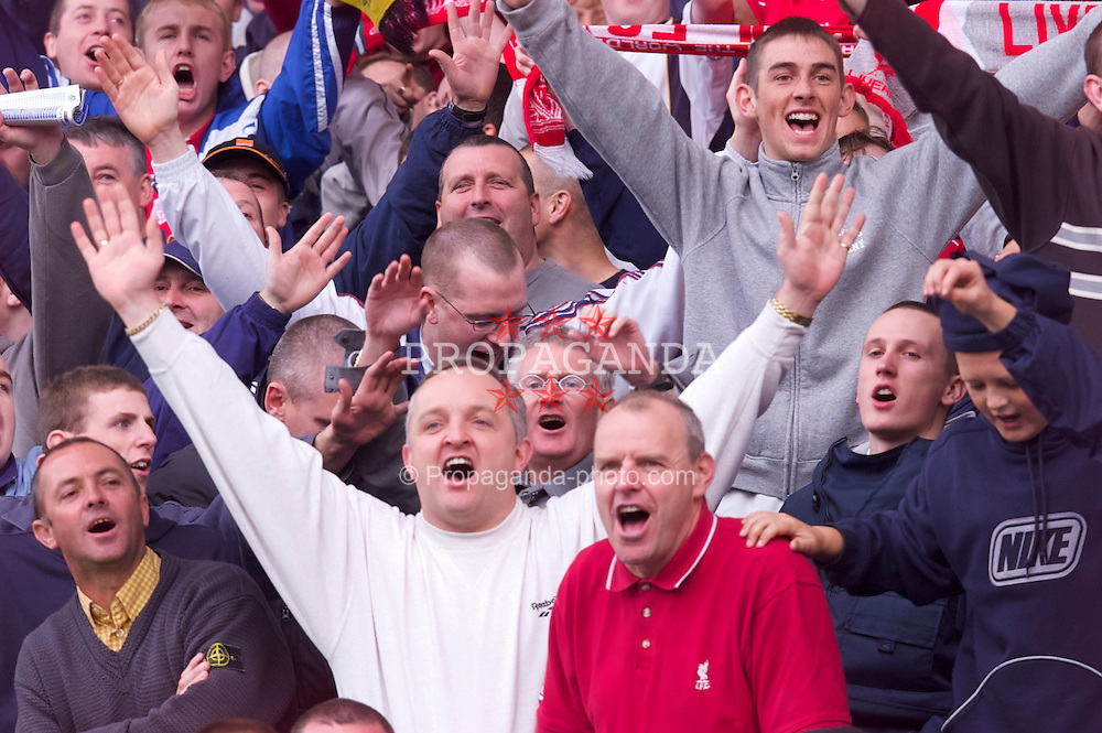 LIVERPOOL, ENGLAND - Saturday, September 15, 2001: 'Three-one, in your cup final!' Liverpool supporters taunt the Everton fans during the Premiership match at Goodison Park. (Pic by David Rawcliffe/Propaganda)