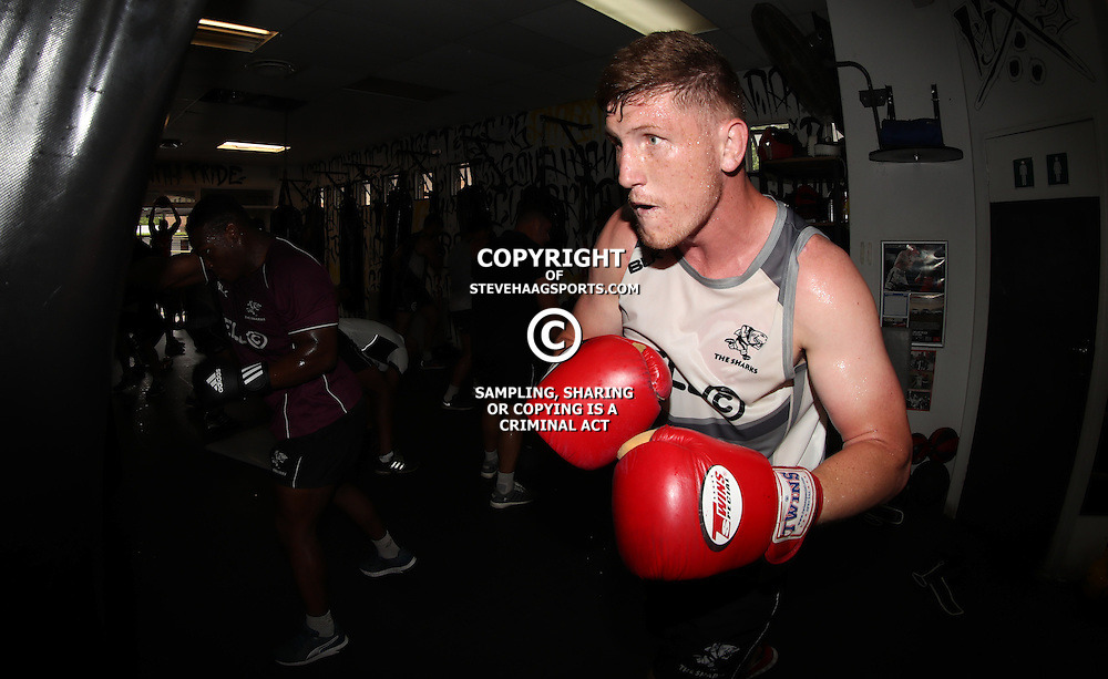 DURBAN, SOUTH AFRICA - JANUARY 16: Jacques Vermeulen during the Cell C Sharks boxing session at Domination on January 16, 2017 in Durban, South Africa. (Photo by Steve Haag/Gallo Images)