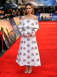 Lily James attending The Guernsey Literary and Potato Peel Pie Society world premiere held at Curzon Mayfair, London.
