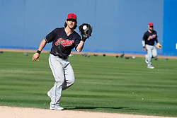 March 18, 2018 - Las Vegas, NV, U.S. - LAS VEGAS, NV - MARCH 18: Drew Maggi (70) of the Indians catches a line drive during a game between the Chicago Cubs and Cleveland Indians as part of Big League Weekend on March 18, 2018 at Cashman Field in Las Vegas, Nevada. (Photo by Jeff Speer/Icon Sportswire) (Credit Image: © Jeff Speer/Icon SMI via ZUMA Press)