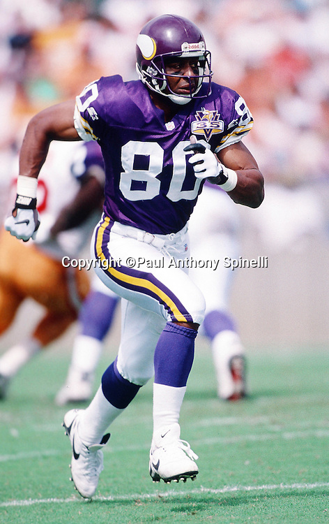 Minnesota Vikings wide receiver Chris Carter (80) goes out for a pass during the NFL football game against the Tampa Bay Buccaneers on Oct. 15, 1995 in Tampa, Fla. The Bucs won the game 20-17 in overtime. (©Paul Anthony Spinelli)