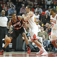 16 March 2012: Portland Trail Blazers power forward LaMarcus Aldridge (12) posts up Chicago Bulls center Joakim Noah (13) during the Portland Trail Blazers 100-89 victory over the Chicago Bulls at the United Center, Chicago, Illinois, USA.