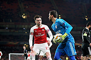 Qarabag FK's Vagner (13) just gets to the ball before Arsenal's Carl Jenkinson (25) during the Europa League group stage match between Arsenal and FK QARABAG at the Emirates Stadium, London, England on 13 December 2018.