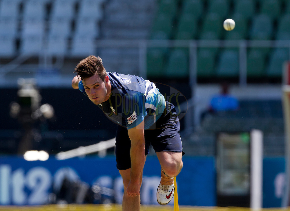 Mitchell McClenaghan bowls on the track during the Auckland Aces practice session held a Kingsmead Stadium in Durban on the 18th October 2012..Photo by Rogan Ward/SPORTZPICS/CLT20