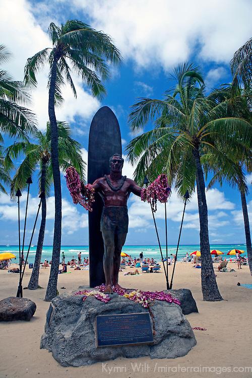 Statue of legendary surfer Duke Kahanamoku at Waikiki Beach in Honolulu, Hawaii.