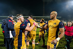 Max Crumpton and Tom Varndell of Bristol Rugby celebrate after Bristol Rugby win the game 18-28 - Rogan Thomson/JMP - 16/12/2016 - RUGBY UNION - Stade du Hameau - Pau, France - Pau v Bristol Rugby - EPCR Challenge Cup.