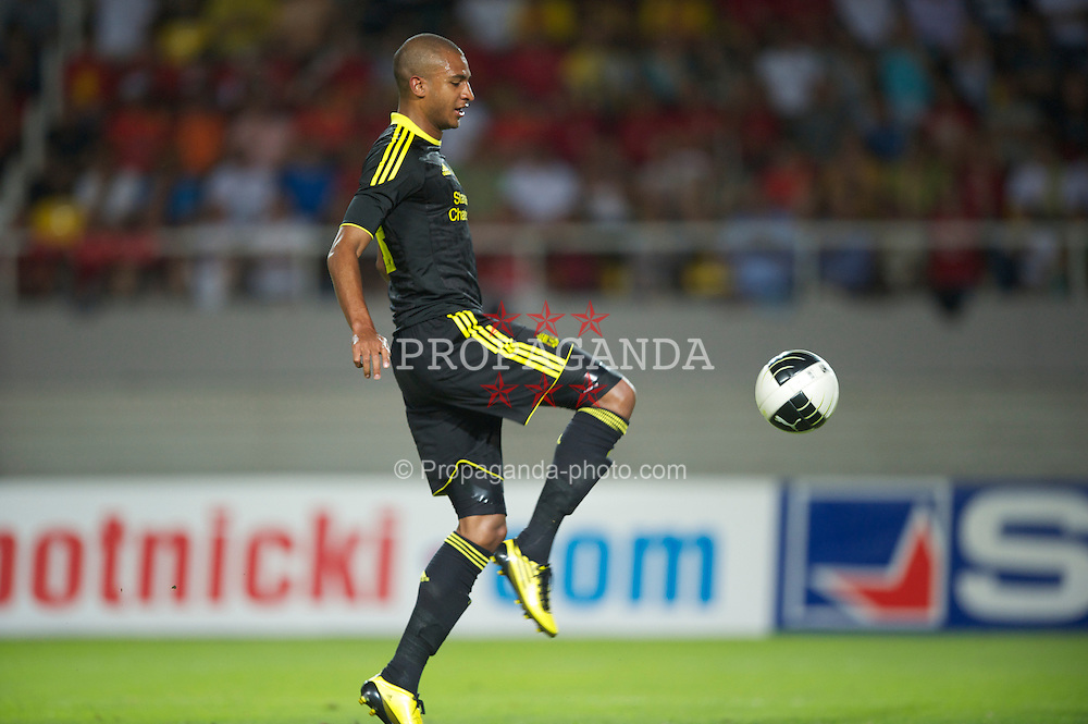 SKOPJE, MACEDONIA - Thursday, July 29, 2010: Liverpool's David Ngog scores the opening goal past FK Rabotnicki during the UEFA Europa League 3rd Qualifying Round 1st Leg match at the National Arena Filip II Stadium. (Pic by David Rawcliffe/Propaganda)